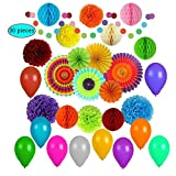 Party Decorations Colorful, Balloons, pom pom, rinbow and Paper Fans, Fiesta Decoration, Parties Supplies for All Celebrations, Festival, Birthday,Graduations (30 pcs)