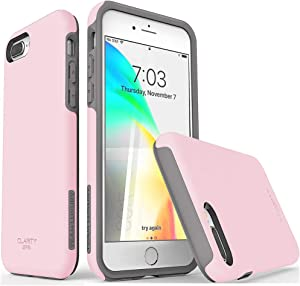 "TEAM LUXURY iPhone 7 Plus case/iPhone 8 Plus case, [Clarity Series] Pink [G-II] Ultra Defender TPU + PC Shock Absorbent Protective Case - for Apple iPhone 7 Plus & 8 Plus 5.5"" (Rose Quartz/Gray)"