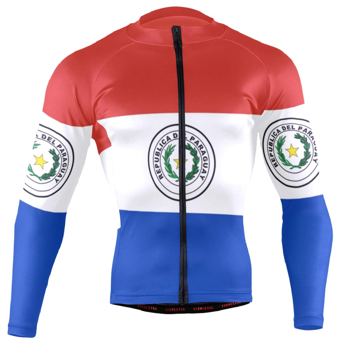 CHINEIN Men's Cycling Jersey Long Sleeve with 3 Rear Pockets Shirt Paraguay Flag by CHINEIN