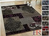 Handcraft Rugs Purple/Gray/Silver/Black Abstract Area Rug Modern Contemporary Floral and Patchwork Geometric Design for Living Room/Guest Room/Dining Room/Office