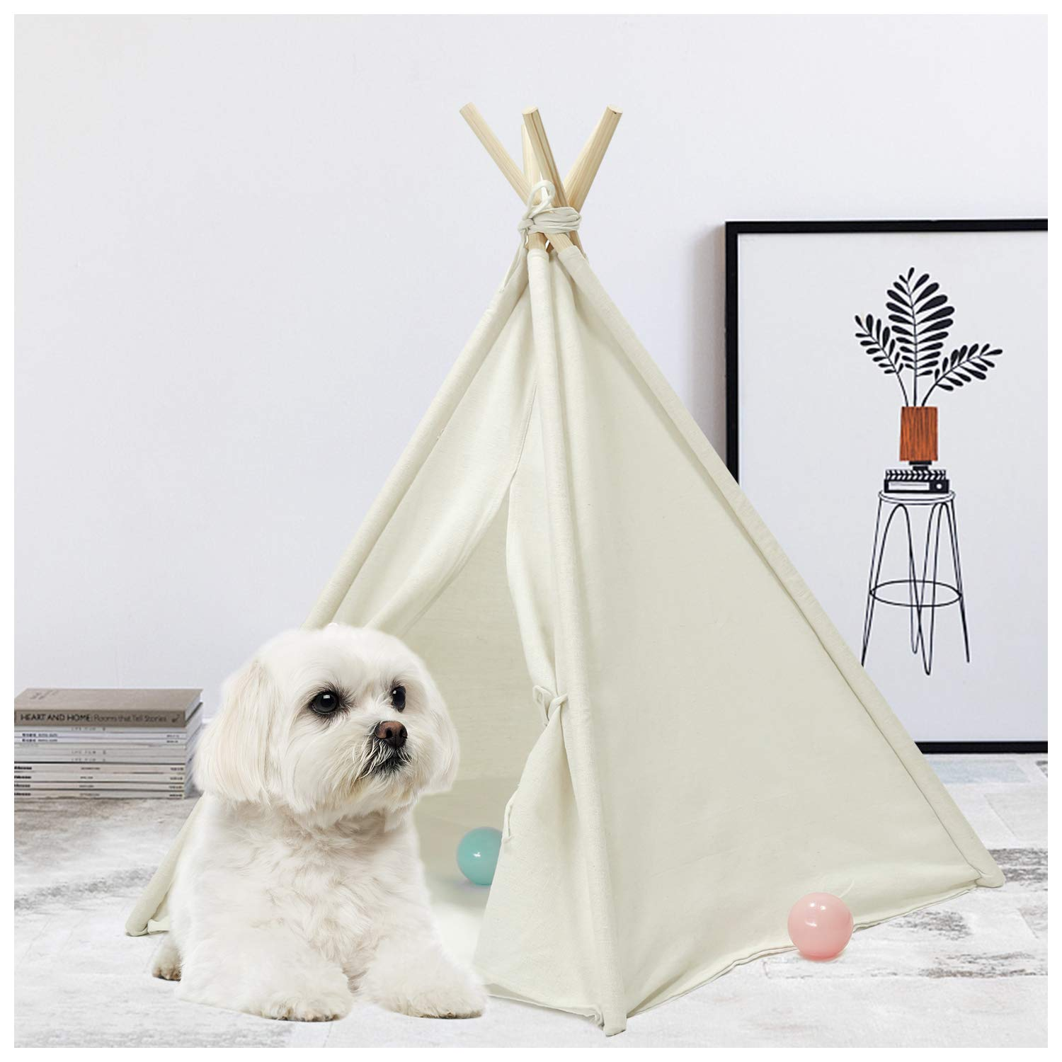 UKadou Pet Teepee Tent for Dogs, Cute Dog Teepee Tent Bed, Modern Pet Teepee Tent House with Floor,Puppy beds for Small Dogs, Portable Indoor Dog House Cat Tent Bed Tipi, Rabbits Pet House 24Inch by UKadou