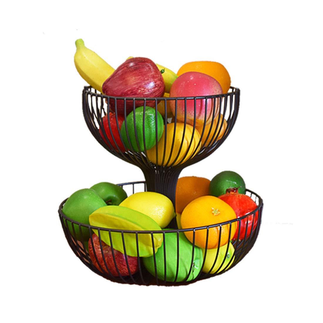 XX_C フルーツバスケット フルーツ収納2段フルーツボウルパンフルーツラック2層メタルフルーツホルダーフルーツプレートフルーツボウル -キッチン用品食器 (色 : ブラス ぶらす, サイズ さいず : B) B ブラス ぶらす B07QRRL3RD