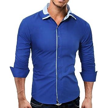 COOLES HERREN HEMD SMOG langarm T shirt in blau Gr. XL