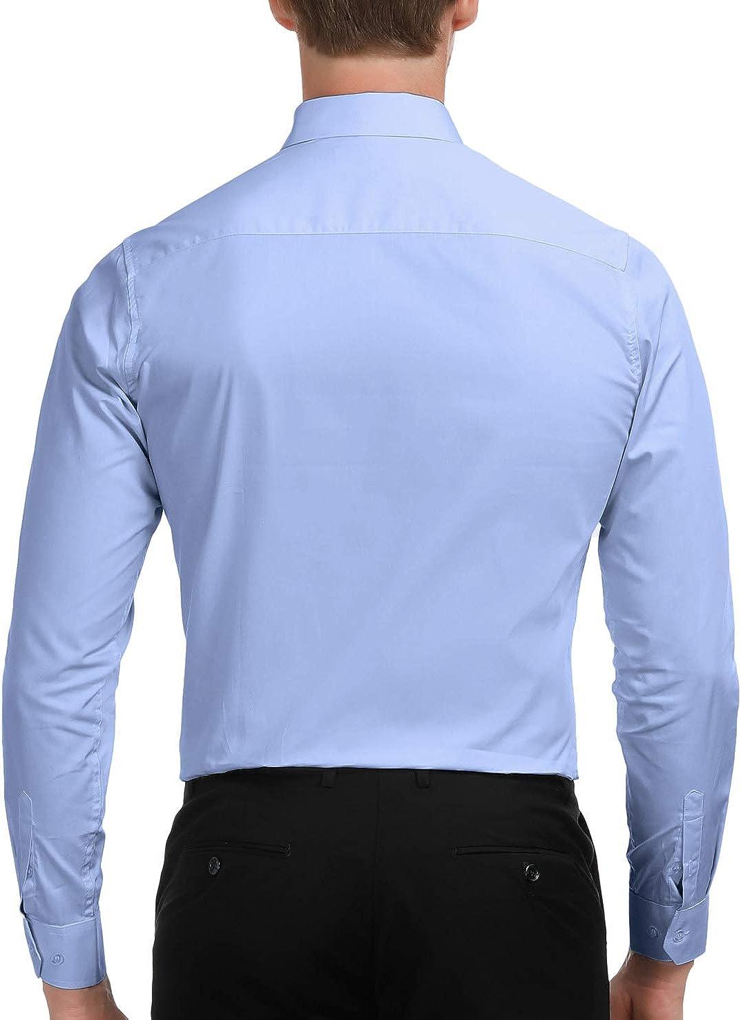 Paul Jones Camisa de vestir de manga larga con botones para hombre - Azul - X-Large
