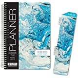 "HARDCOVER Academic Year Planner 2018-2019 - 5.5""x8"" Daily Planner / Weekly Planner / Monthly Planner / Yearly Agenda. Bonus BOOKMARK (Blue Marble)"