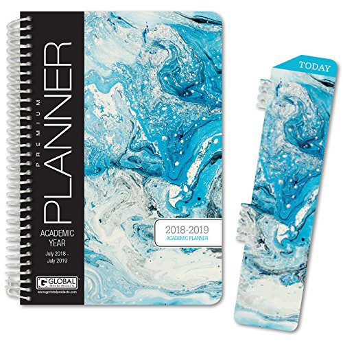 """HARDCOVER Academic Year Planner 2018-2019 - 5.5""""x8"""" Daily Planner/Weekly Planner/Monthly Planner/Yearly Agenda. Bonus Bookmark (Blue Marble)"""