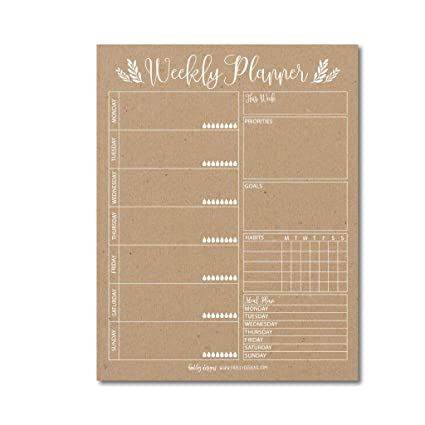 photograph relating to Cute Weekly Planners named Rustic Undated Weekly Loved ones Calendar Planner Pad, Mother Month-to-month toward Do Listing Table Paper Notepad, 7 days Working day Weekend Organizer, Particular person Purpose Routine Tracker,