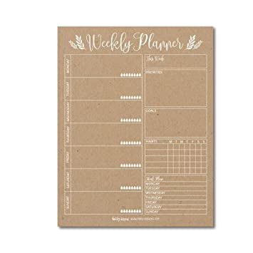 amazon com rustic undated weekly family calendar planner pad mom