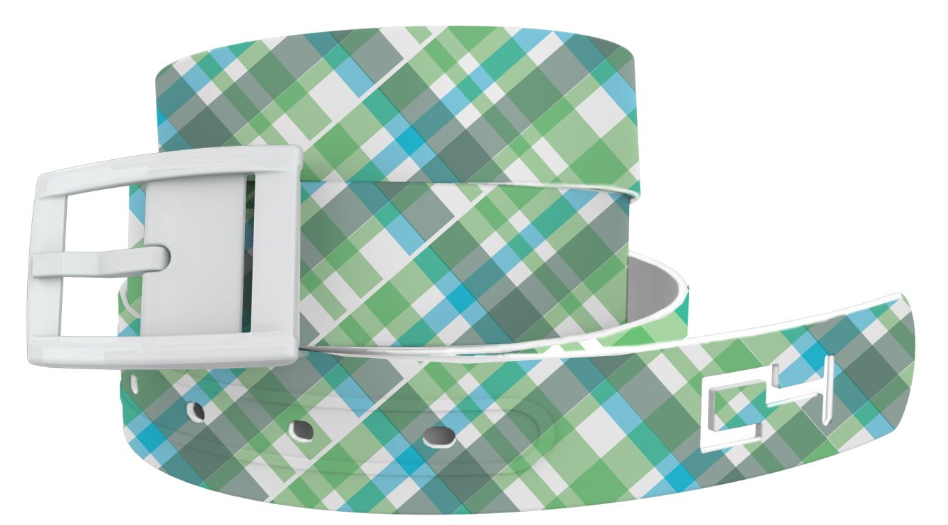 Summer Plaid Green Golf Belt with White Buckle - Adjustable for waist size up to 44 inch, hypoallergenic - by C4 Belts