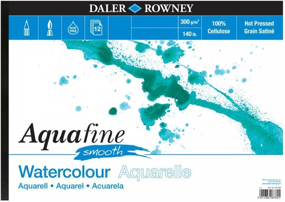 Daler Rowney Aquafine aquarelle artists watercolour SMOOTH pad A3 hot pressed