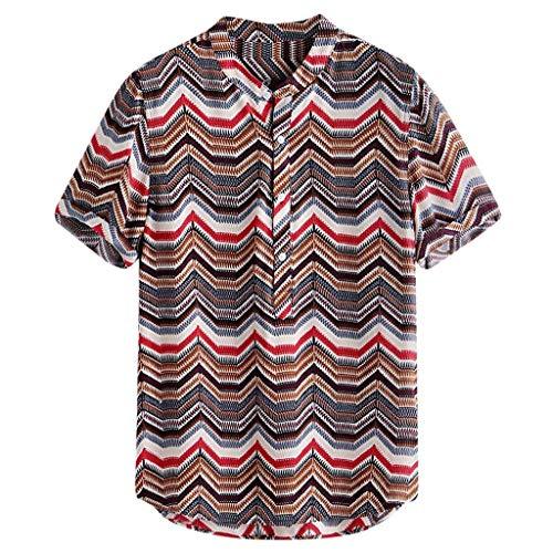 LUCAMORE Men's Hawaiian Shirt Casual Short Sleeve Loose Stripe Printing Buttons Aloha Shirt Beach Wear Red]()