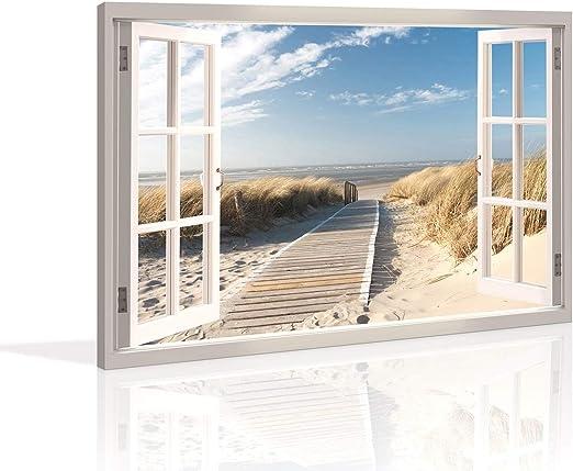 Cuadro en Lienzo ´ 120 x 80 cm Nr 5007 ventana playa