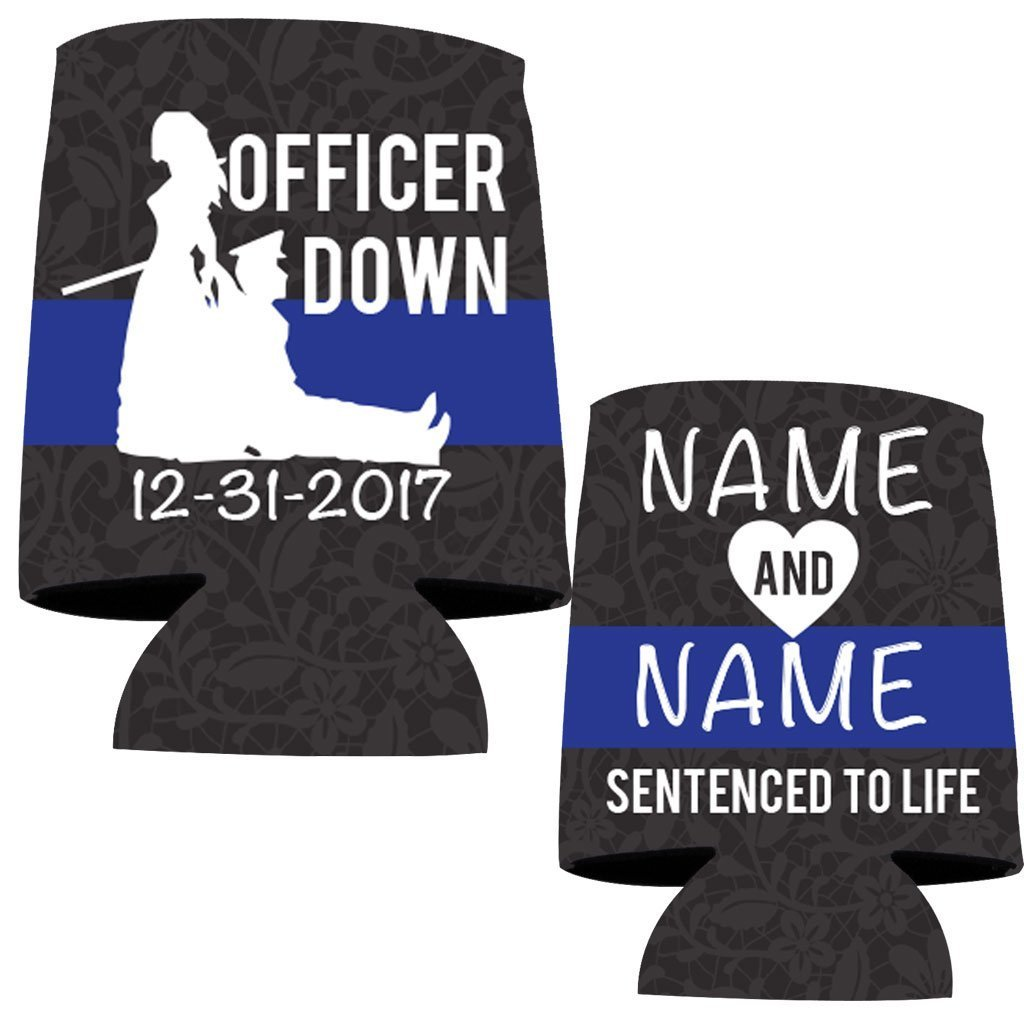 Custom Police Wedding Can Cooler- Officer Down, Sentenced To Life (150) by VictoryStore