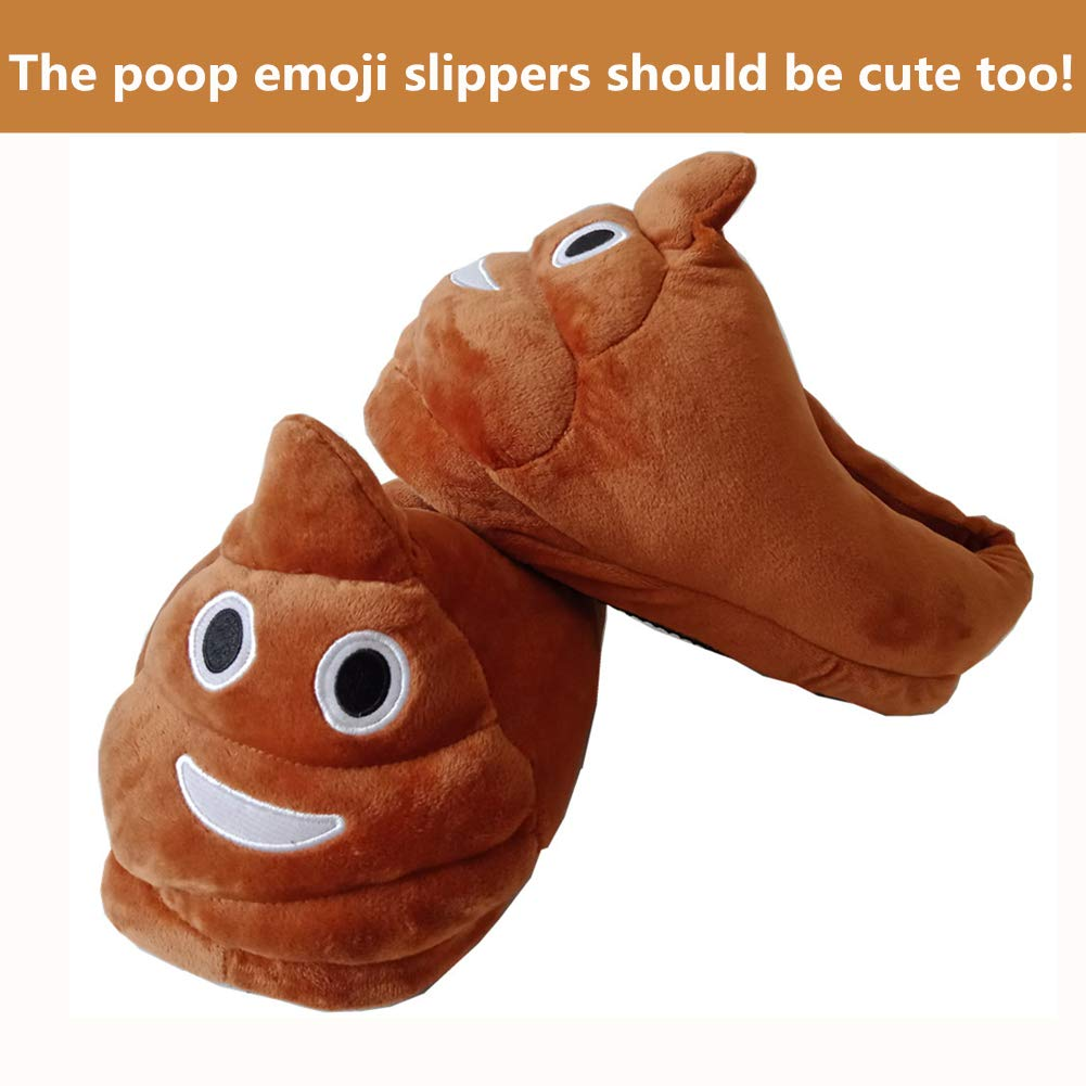 6e33b0558ef Amazon.com  Poop Emoji Slippers Plush Funny Stuff Fluffy Slipper Anti Slip  Cute Cartoon House Shoes Unisex for Women Men Kids  Shoes