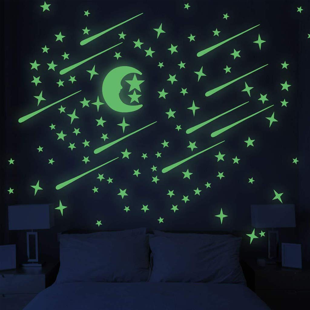 Wall Stickers Glow in Dark Stars and Moon Light Up Your Ceiling Glowing Stars Stickers for Ceiling and Wall Decals for Kids Room 152 Pcs Realistic Galaxy Glowing Stickers Room Decor Kit for Room