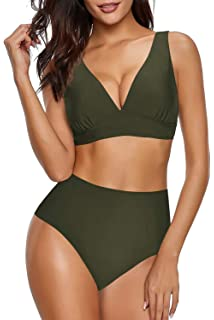 Adreamly Womens High Waisted Bikini Set Tie Knot Front High Rise Swimsuits Two Piece Bathing Suits