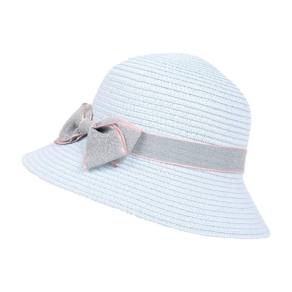 HOYURI 5-8 Years Old Children Bow Travel Bohemian Hats Beach Sun Hat Basin Caps Sun Hat Straw Boater Hat