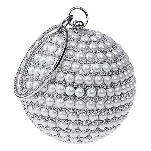 Party Handbag Wedding KELAND White Evening Bling Round Shape Beaded Rhinestones Purse Bag Clutch Women's aagvqw6xTS