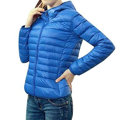 new style 3b433 dc8c3 Shujin Damen Winter leicht Übergangsjacke Steppjacke mit Kapuze Daunenjacke  zusammenklappbar Warm mit Reißverschluss kurz Jacke
