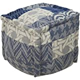 Surya POUF-100 Hand Made 80% Wool, 20% Cotton Mediterranean Blue 18'' x 18'' x 18'' Pouf