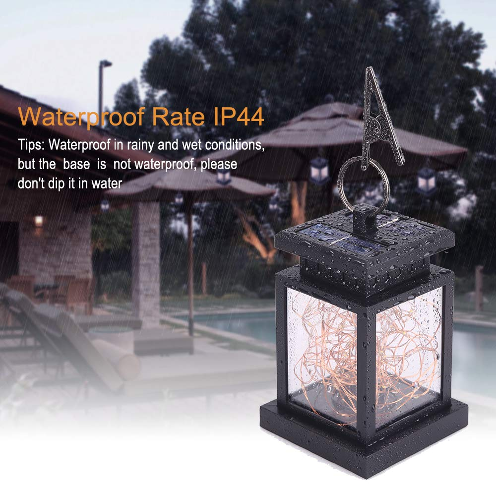 JSOT Hanging Solar Lights, Newest Outdoor Table Lanterns Waterproof 30 LED Decor Fairy Lamps for Garden Party Patio Umbrella (Yellow Light, Pack of 2)