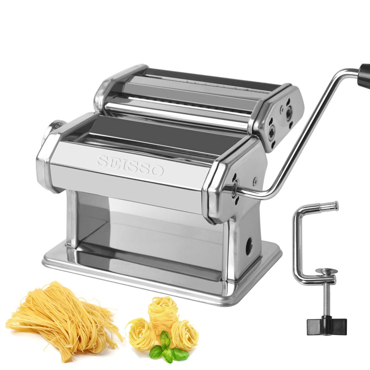 Pasta Maker Machine Hand Crank Stainless Steel Noodle Making Machine Vertical Roller Cutter Manual Pasta Machine, for Perfect Homemade and Restaurant by SEISSO