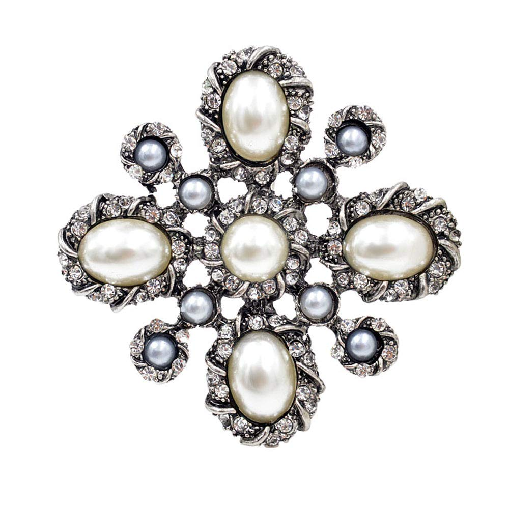 CINDY XIANG Pearl Cross Baroque Brooches Women Fashion Vintage Brooch Pin Wedding Coat Accessories Good Gift-Silver