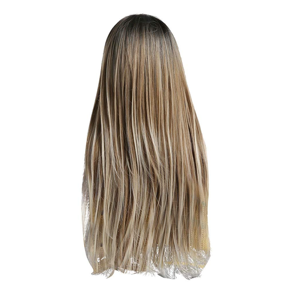 JYS Beautiful New Style Women's Long Sraight Fancy Dress Wigs Blonde Cosplay Costume Ladies Wig, Natural Wig Party Free Wig Cap Mono-Color Wigs Anime (A)