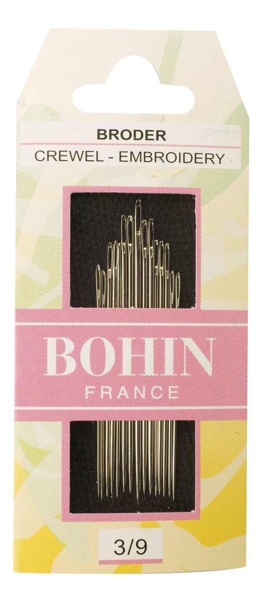 Bohin Crewel Embroidery Needles, Size 3/9, 15 Per Package Bohin (BOHI0) 768