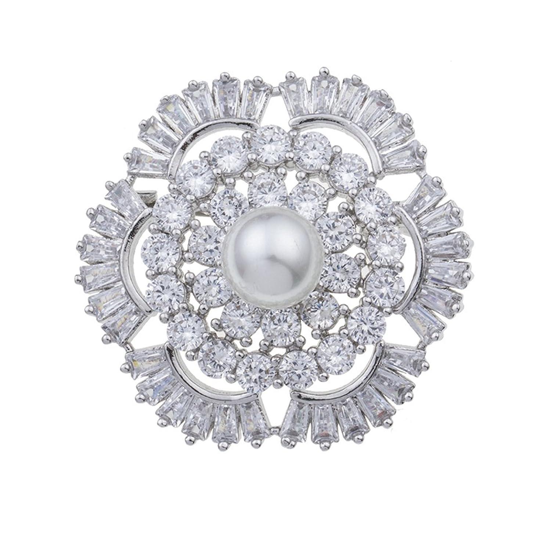 YAZILIND perla flor broche PIN cubic zirconia mujeres Corsage elegante accesorios de ropa