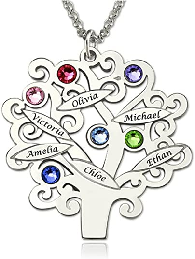 Meichang Scarlett Personalised Family Tree Necklace with Creative DIY Birth Stone Name Necklace for Loves Custom Birthstone Necklace