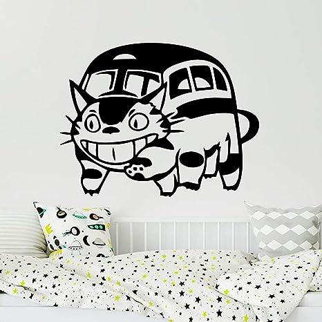 Dibujos animados geométricos bruja gato luna etiqueta de la pared ...