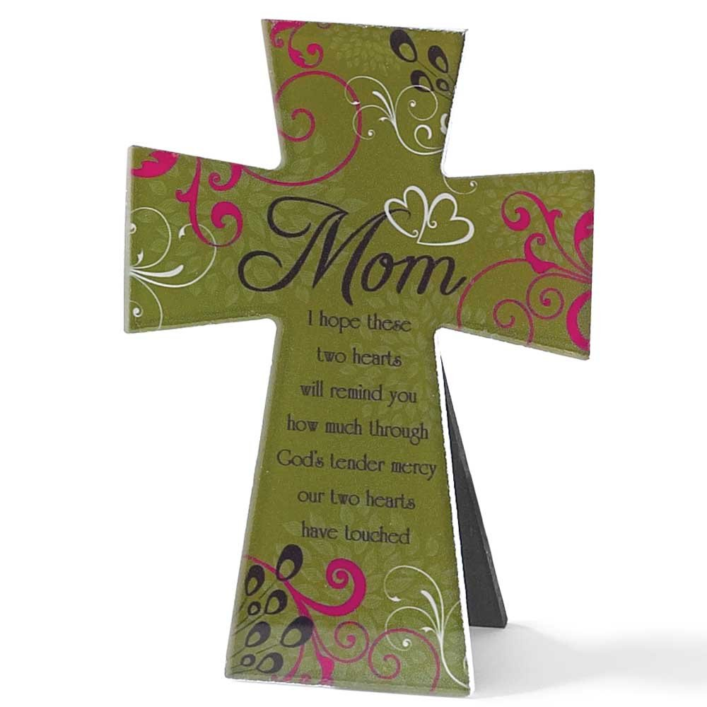 Mom Two Hearts Green and Pink Vines 6 x 5 Glass Table Top Cross