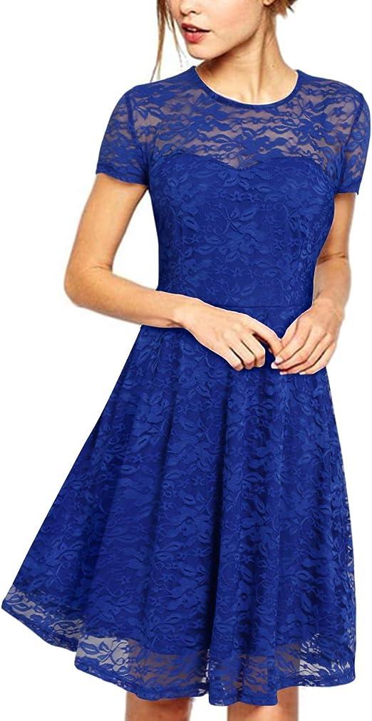Freizeit Kurzärmelig Abend Party Cocktail Kurz Kleid Damen Mini Bodycon Kleid
