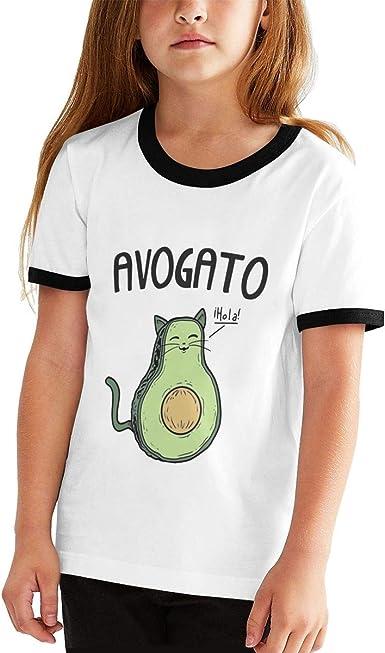 Camiseta Deportiva de Manga Corta para niños y niñas, diseño de Gato Aguacate - Negro - Large: Amazon.es: Ropa y accesorios