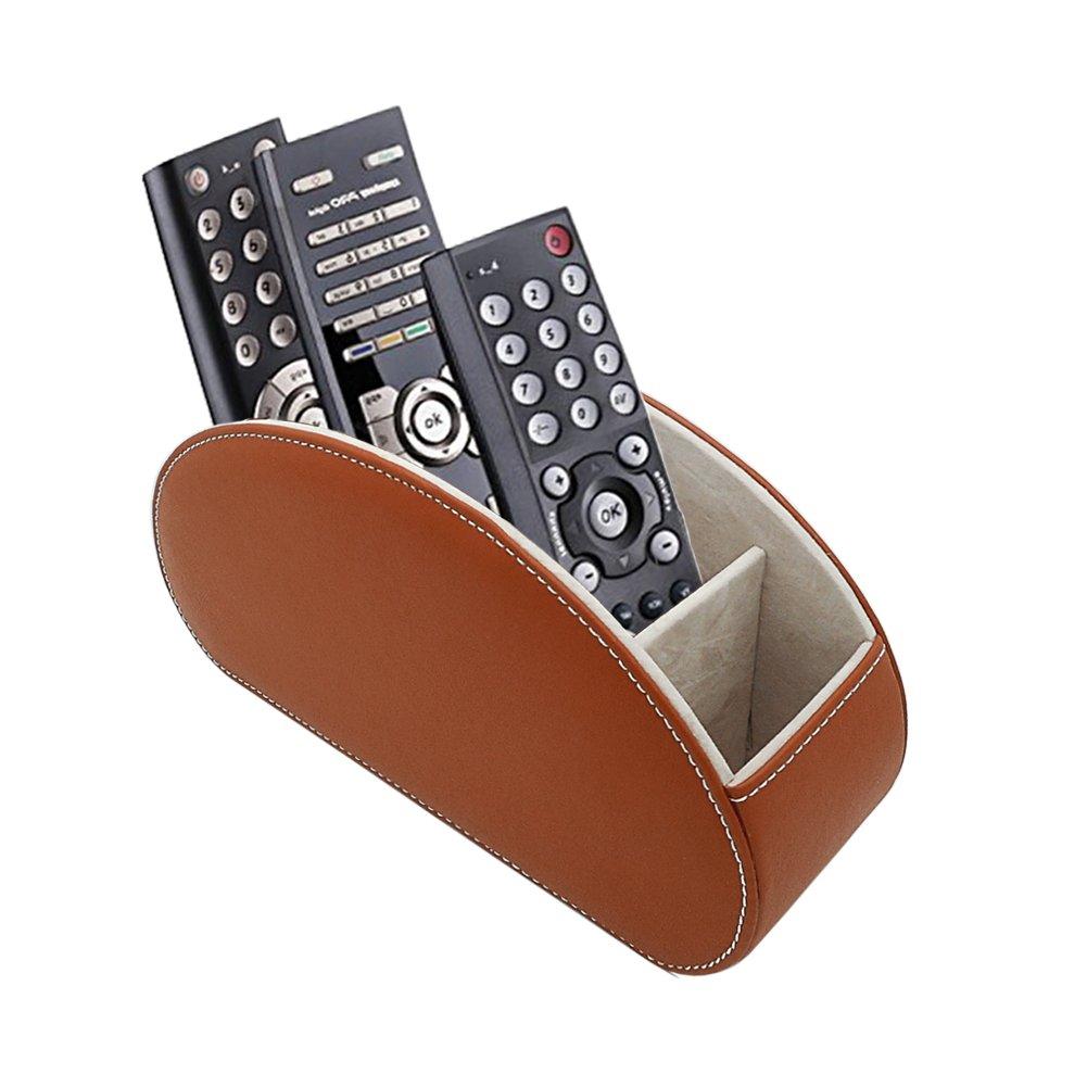 Fernbedienung Halter PU Leder TV Stift Bleistift Remote Organizer mit 5 Ger/äumigen F/ächern f/ür Wohnzimmer und B/üro
