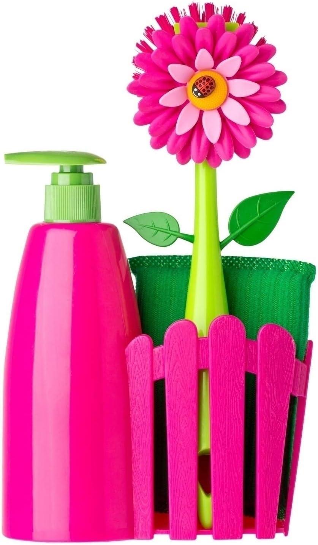 Vigar Set Fregadero con dosificador de Jabón, esponja y cepillo lavaplatos.
