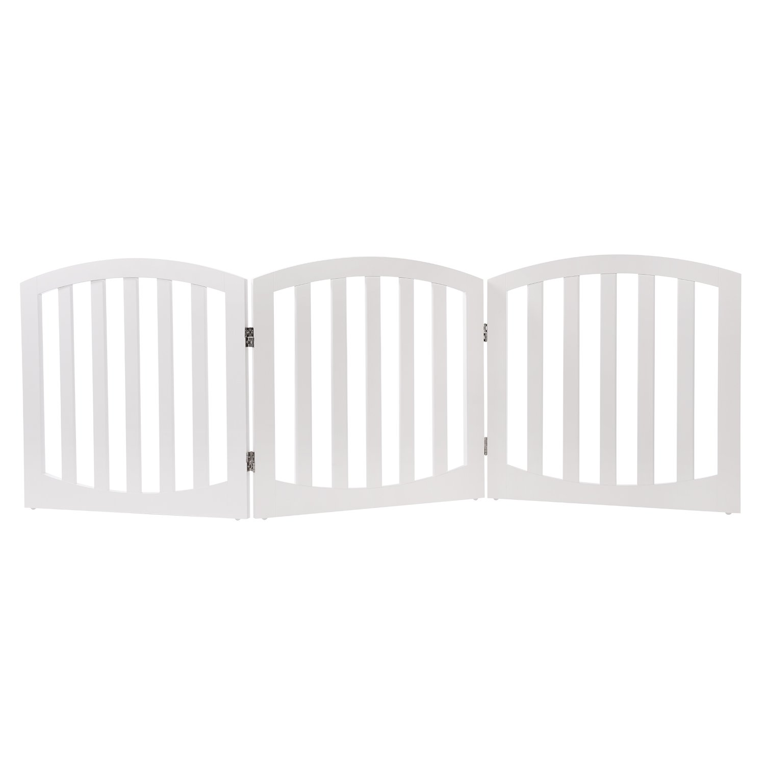 Arf Pets Free standing Wood Dog Gate, Step Over Pet Fence, Foldable, Adjustable - White