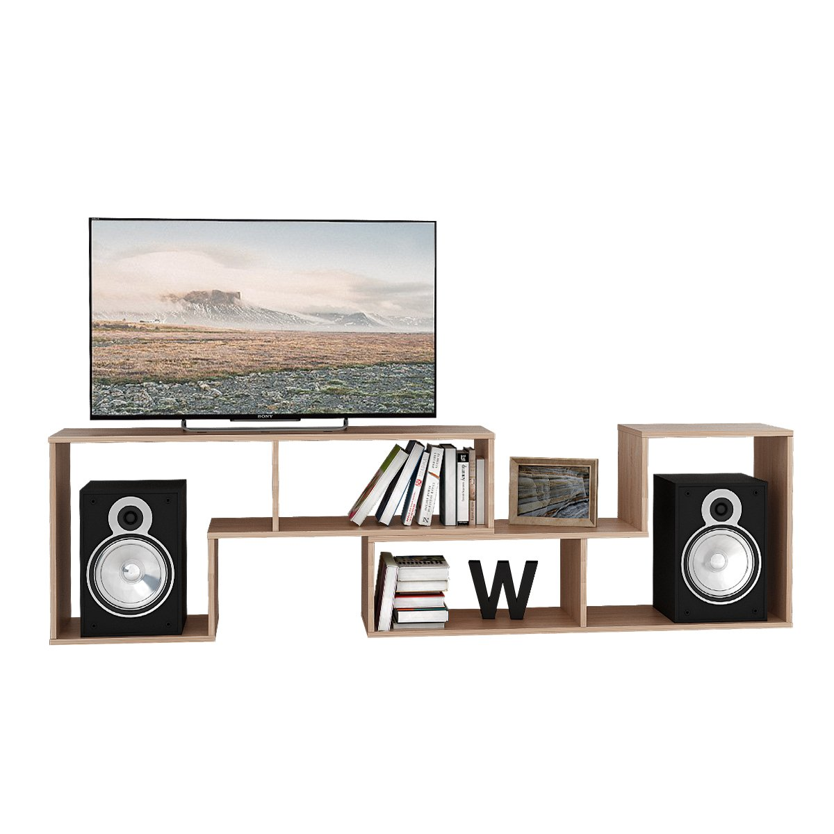 DEVAISE 3-in-1 Versatile TV Stand Bookcase Display Cabinet by Oak (0.6'' thickness)