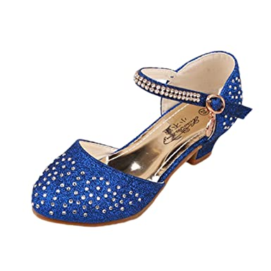 2a364d446e11 YIBLBOX Little Kids Girls Glitter Princess Dance Shoes Low Heels Mary Jane Sequin  Wedding Shoe. Roll over image to zoom in