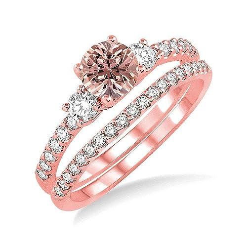 Enorme 2,50 quilates Morganite y diamante juego de anillos de boda para mujeres en 10 K oro rosa asequibles Morganite y diamante anillo de compromiso: ...