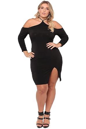 Plus Size Cold Shoulder Halter Dress Black At Amazon Womens
