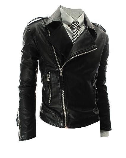 Vintage Veste Imitation Cuir Homme Jacket Slim Fit Biker Motocyclettes  Jacket Manteau Vêtements d Extérieur  Amazon.fr  Vêtements et accessoires ef857c95e03