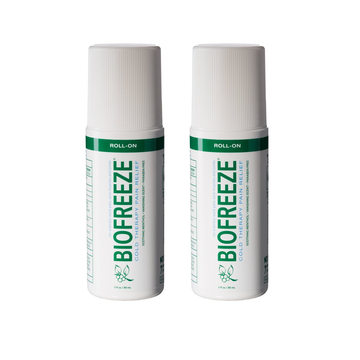 Biofreeze 13527 Pain Relief Gel for Arthritis, 3 oz. Roll-On Cold Topical Analgesic, Fast Acting Cooling Pain Reliever for Muscle, Joint, and Back Pain, Original Green Formula, Pack of 2, 4% Menthol