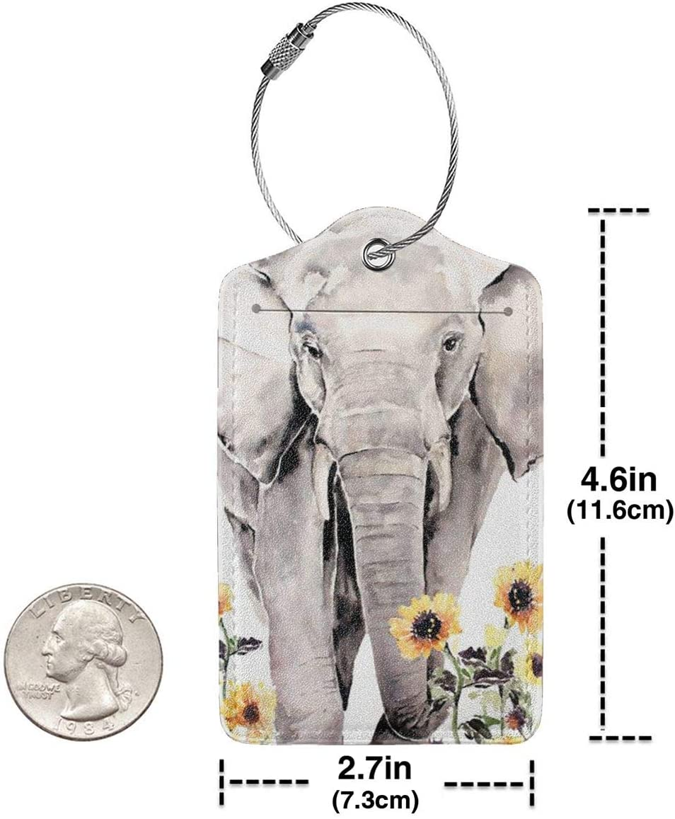 Elephant And Sunflower Leather Luggage Tags Suitcase Tag Travel Bag Labels With Privacy Cover For Men Women 2 Pack 4 Pack