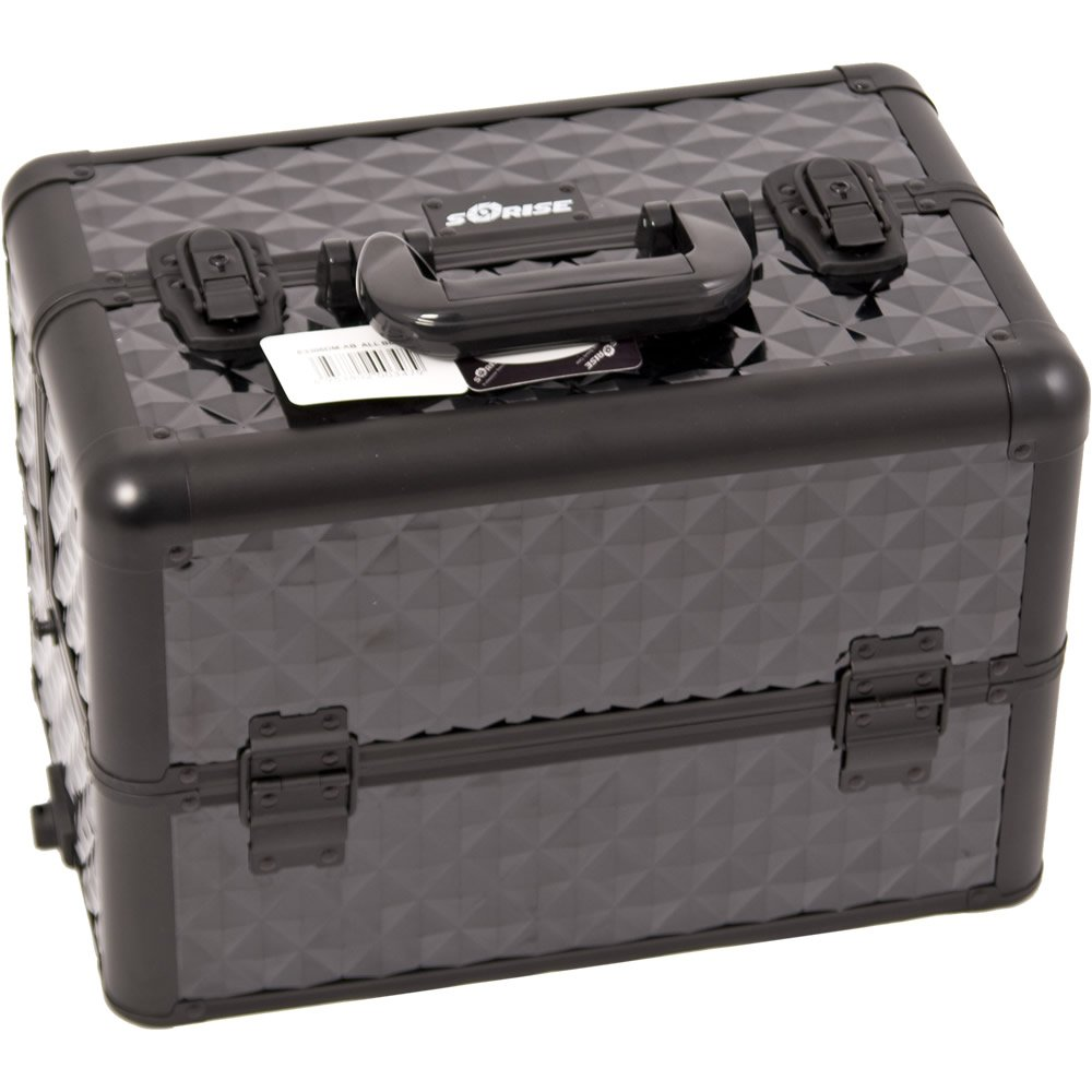 Sunrise E3306 Interchangeable Makeup Artist Train Case 12 Compartments Organizer Kit Shoulder Key, Black Diamond by SunRise