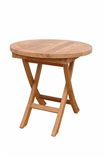 Anderson Teak Bahama Mini Side Round Folding Table, 20-Inch