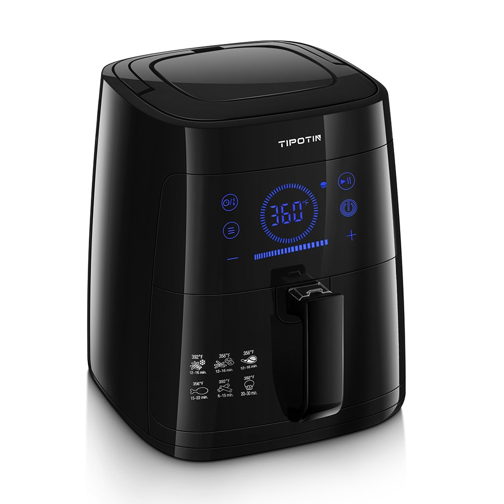 Tipotin Air Fryer 2.65 Qt Oil Free Programmable Electric Hot Air Fryer Oven with Dishwasher Safe Basket and Cookbook