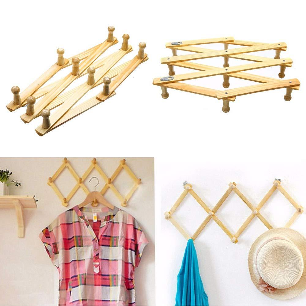 Perchero extensible, 10 cabezales de madera, gancho de almacenamiento extensible para colgar ropa, perchero, gancho, armario plegable, vertical u ...