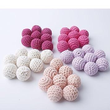 Serie Rosa Crochet los granos de la dentición 60 PCS 20mm Mordedor de madera Bolas de algodón alrededor de granos en rosa tonos beige color lila ...